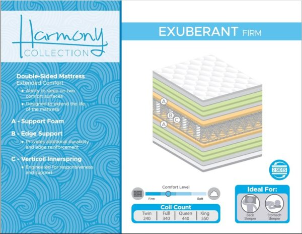 Queen Mattress - Harmony - 8600 Exuberant Firm